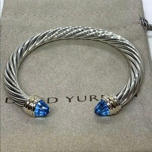 David Yurman 925 & 14K Gold With Blue Topaz Cable